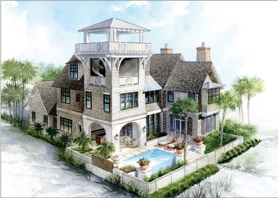 Beach house plans with tower home design and style for Luxury coastal house plans