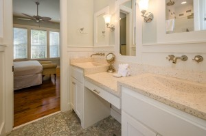 The master bath features an eye-catching double sink vanity.